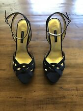 CAPARROS Black Satin Elegant Sexy Platform Evening Sandals Heels Size 9