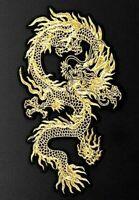 Golden Dragon Patch 29cm x 16cm Biker Back Embroidered Iron Sew On Rocker