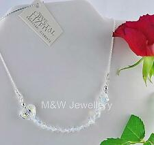 925 STERLING SILVER CHAIN NECKLACE WITH SWAROVSKI Elements HEART CRYSTAL AB