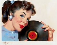 LET/'S EAT OUT 1967 GIL ELVGREN VINTAGE PIN UP GIRL POSTER PRINT 24x20 9MIL PAPER