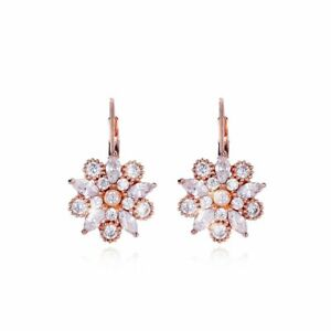 Flower Bomb Decó Round Marquise White Cubic Zirconia 18ct Rose Gold Plated Drop