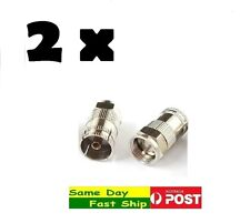 .2 x Metric F Male Head to TV 9.5mm Female Plug Jack Joint Connector Adapter AU