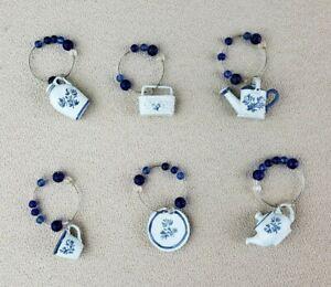 PFALTZGRAFF Yorktowne Wine Markers Charms Set Of 6 Blue Beads