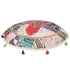 Indian Ottoman Floor Cushion Cover Handmade Cotton Patchwork Pouf Cover