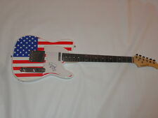 RICK SPRINGFIELD SIGNED USA FLAG ELECTRIC GUITAR JESSIE'S GIRL PROOF JSA COA
