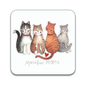 "Alex Clark Cat Kitten Drinks Coaster Table Protector ""Marvellous Moggies"" Home"