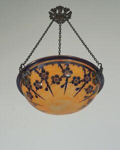 SCHNEIDER : FRENCH 1920 ART DECO PENDANT Le Verre Français cameo chandelier 1925