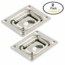 2PCS Stainless Boat Recessed Hatch Loaded Flush Mount Lift/Pull Ring Handle