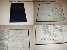 ANJOU - MÉMOIRES HISTORIQUES SUR SAUMUR - COPIE MANUSCRITE DE 60 PAGES - 1832 !!