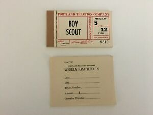 PORTLAND TRACTION COMPANY,TICKET BOOK,INTERURBAN,1950,BOY SCOUT,WEEKLY PASS,