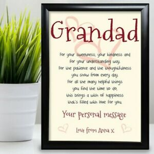 Gift For Grandad Birthday Card Gift Framed From Grandaughter Poem Fathers Day