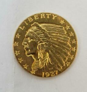 1927 US GOLD $2.50 Indian Coin XF L9964