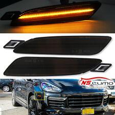 LED Side Marker Bumper Lights For Porsche Cayenne 958 Gen 2015-2019 Smoked Amber