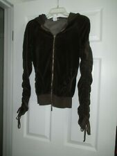Hard Tail Forever Dark Brown Velour Zippered Hoodie w/Pull-Tie Sleeve (XS) USA