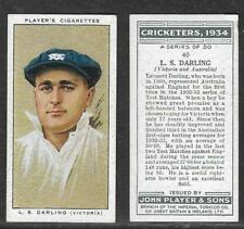 PLAYER'S 1934 CRICKETERS L.S.DARLING Card No 40 of 50 CRICKET CIGARETTE CARD