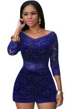 Blue Lace off shoulder Romper Club wear Playsuit Fancy Dress Size  S M L