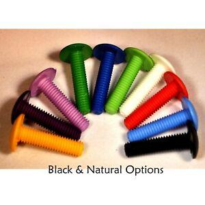 10 x Nylon Plastic Bolts Slotted Mushroom Head BLACK M6 x 25mm