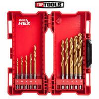 Milwaukee 48894759 Shockwave 10 Pcs Red hex HSS-Ground Titanium Metal Drill Bit