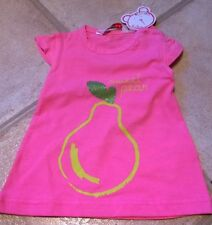 BNWT Losan girl 6 months pink summer short sleeved top sparkly pear 100% cotton