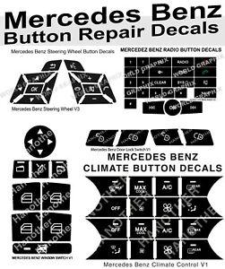Premium Mercedes Benz Button Repair Package Steering AC Window Decals Stickers