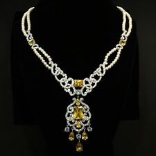 Faux Pearl with Clear & Citrine Yellow CZ Necklace  Factory New