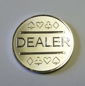 Silver Plated Metal Dealer Button in Case for Poker Games such as Texas Hold'em
