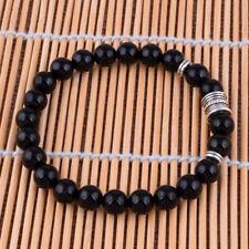 """Men Women 8mm Black Agate Bracelet Gemston Tibetan silver Beaded Bangle 7.8"""""""