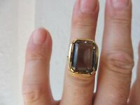 Beautiful, old Ring __585 Gold __ With Polished Stone: Smoky Topaz __ 7, 9Gramm