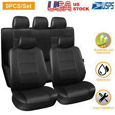 Complete Pu Leather Car Seat Covers Set Black For Car Suv Truck Universal (Fits: Saab)