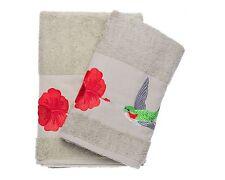 Ebru Bath & Hand Towel Set Turkish Best Quality %100 Cotton Hummingbird