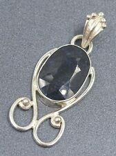 Gorgeous 925 Sterling Silver & Natural Sapphire Ladies Pendant