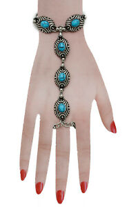 Women Silver Metal Hand Chain Fashion Bracelet Turquoise Blue Bead Slave Ring