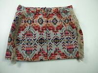 BNWT WOMENS PULL&BEAR RED MIX PATTERNED FRINGED SHORT A-LINE MINI SKIRT SMALL