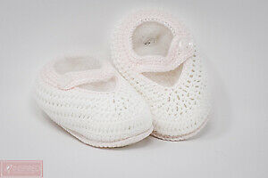 Petit Ami Baby Girls White and Pink Crocheted 0/3 Months Booties FREE GIFT WRAP!