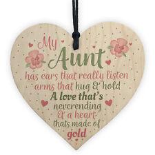Best Friend Auntie Handmade Heart Gift Wooden Chic Sign Birthday Keepsake