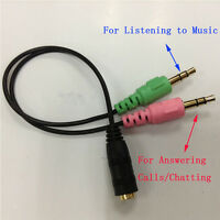 Fashion 3.5mm Audio Mic Y Splitter Cable Headphone Adapter Female To 2 Male New.