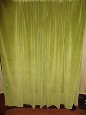 SMOOTH GREEN VELVET RETRO SHABBY (PAIR) SHORT CURTAIN PANELS 46 X 64