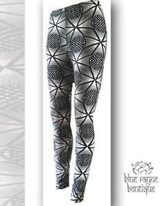 Black White Sacred Psychedelic Geometry Print Festival Leggings Soft Stretch