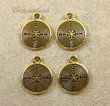 Celtic Labyrinth Charm, TierraCast, Antiqued Gold Plated Charms, 6 Pieces, 2626