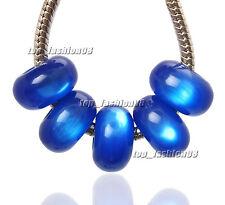 Lots 20pcs Blue Cat-eye Styles Resin Big Hole Beads Fit European Bracelet Charm