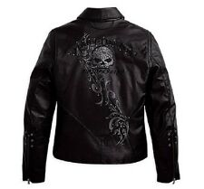Harley Davidson Womens WICKED Swarovski Skull Black Leather Jacket 97123-09VW XS