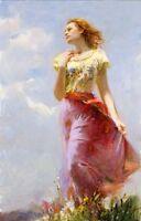 Dream-art Oil painting female portrait pino-wind-swept nice girl Hand painted