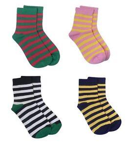 Kids Premium Bamboo Socks by Rambutan Striped Multi-Color Soft Seamless Toe