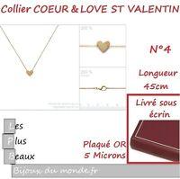 COLLIER Chaine PENDENTIF COEUR AMOUREUX St Valentin en Plaque OR au choix Neuf
