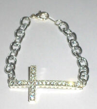 "Curved Sideways Crystal CZ Rhinestone Cross Bracelet - 7"""