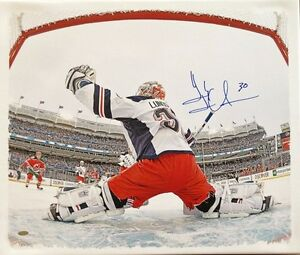 Henrik Lundqvist Signed Framed Canvas Rangers Yankee Stadium Net Cam Steiner
