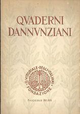 Quaderni dannunziani Fascicolo XVI XVII  1959