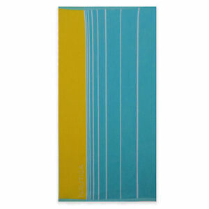 Nautica Faded Stripe Extra Large 100% Cotton Beach Towel In Marigold/Turquoise