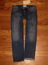 NWT's $206 CURRENT ELLIOTT The Boyfriend in LOVED Blue Cropped Jeans Sz 24