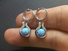 14K White Gold Round Fiery Light Blue Opal Ball Dangle Huggie Earrings